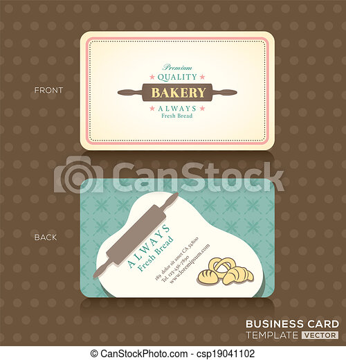 Retro vintage business card for bakery house bakery shop vector bakery shop with rolling pin business card design template cheaphphosting Choice Image