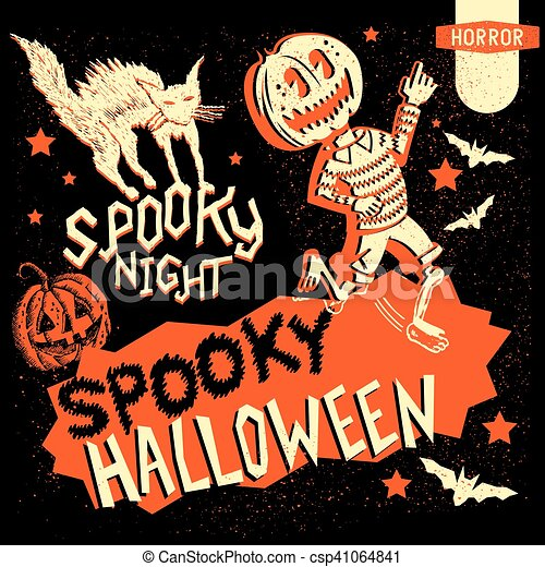 Retro Vintage Halloween Clip Art.Retro Vintage Halloween Elements