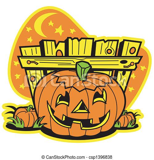 Retro Vintage Halloween Clip Art.Retro Vintage Halloween Pumpkin
