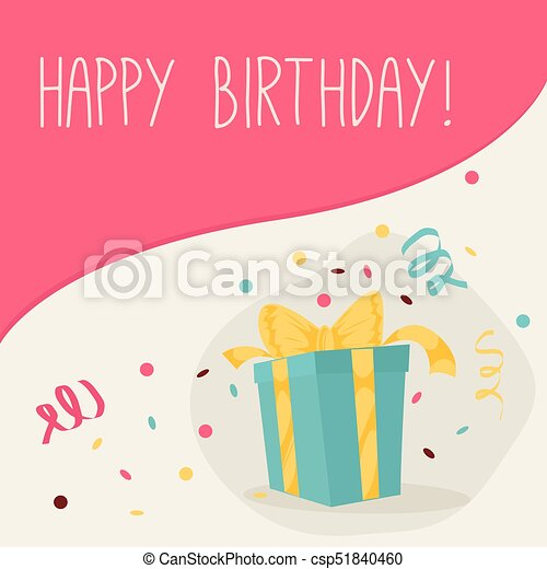 Retro Vintage Happy Birthday Card With Gifts Canstock