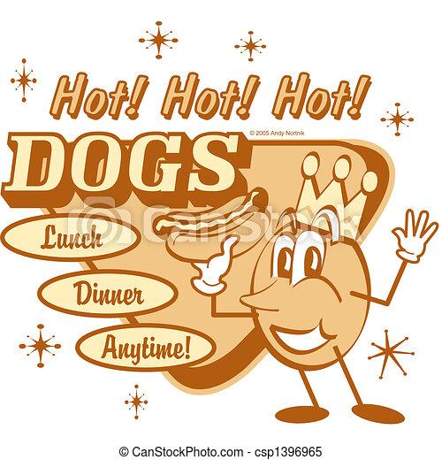 Retro Vintage Hot Dog Sign Clip Art - csp1396965