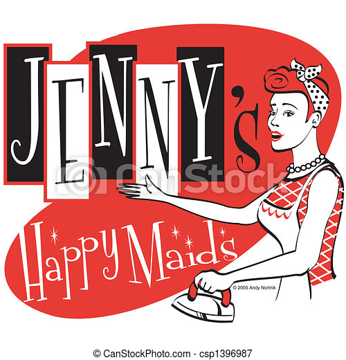 Retro Vintage Maid Sign Clip Art - csp1396987