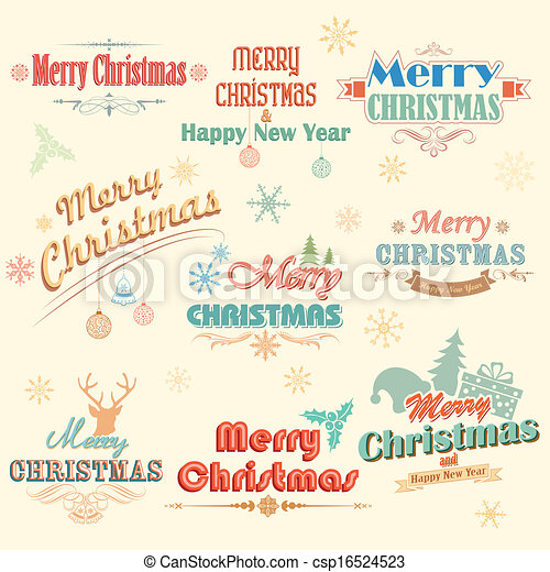 Merry Christmas Labels.Retro Vintage Merry Christmas Labels