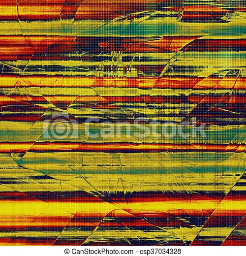 Retro vintage style background or faded texture with different color patterns: yellow (beige); green; blue; red (orange) - csp37034328
