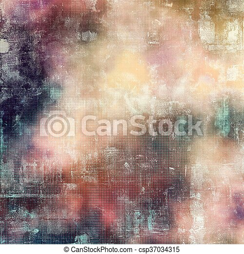 Retro vintage style background or faded texture with different color patterns: yellow (beige); blue; gray; red (orange); purple (violet); pink - csp37034315