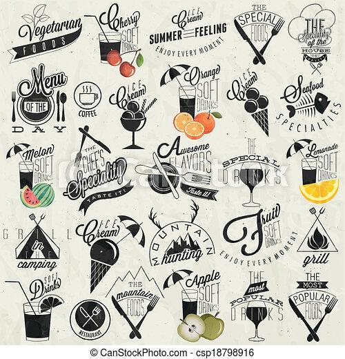 Retro Vintage Style Restaurant Menu Designs Set Of Calligraphic