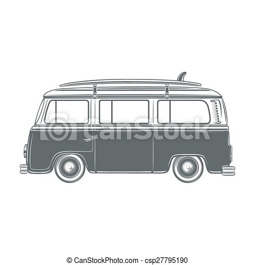 Retro Vintage Travel Camper Van With Surf Board Vector