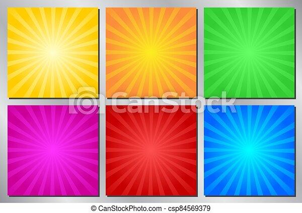Retro, vintage vector background - sunburst - csp84569379