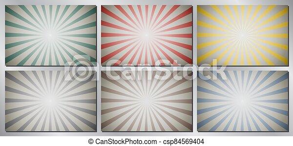 Retro, vintage vector background - sunburst - csp84569404