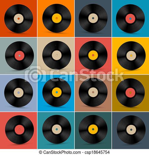 Retro, Vintage Vector Vinyl Record Disc Set on Colorful Background - csp18645754