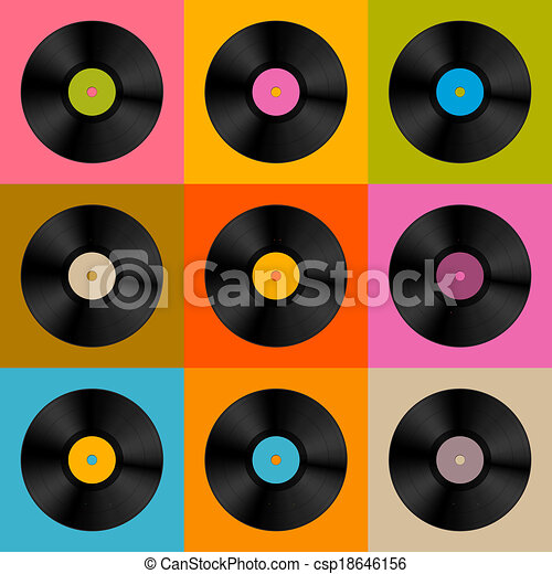 colorful retro vintage vector vinyl record disc background
