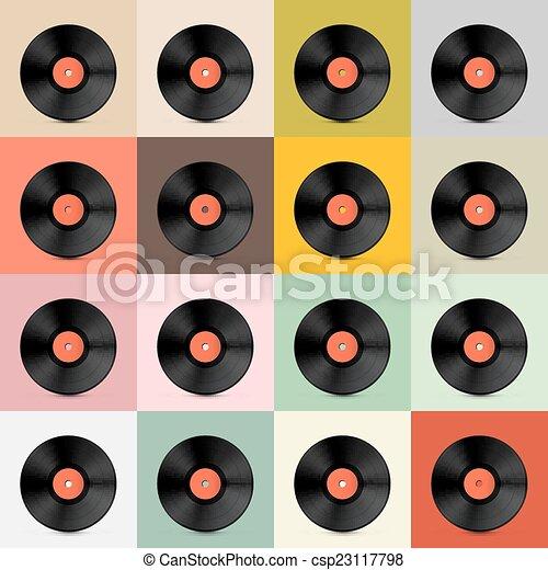 Retro - Vintage Vector Vinyl Record Disc Template - csp23117798