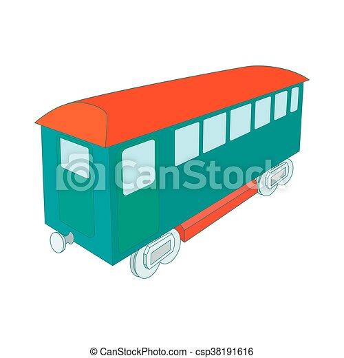 Retro wagon of the passenger train icon - csp38191616