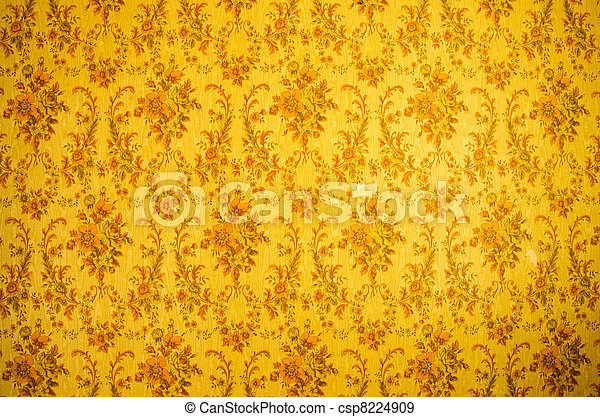 Retro Wallpaper Background And Grunge Yellow Wall