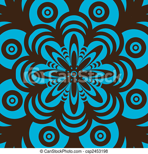 Retro Wallpaper Design Blue And Brown Abstract Seamless