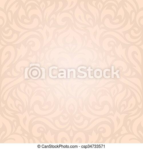 Retro Wedding Floral Ecru Wallpaper