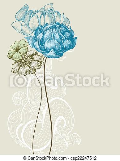 Retro wedding flower bouquet - csp22247512