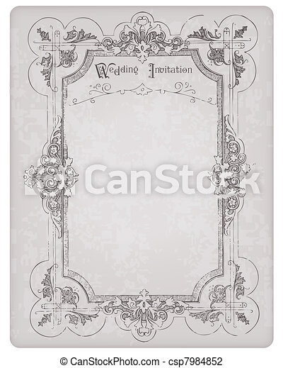 Retro wedding invitation postcard with beautiful frame - for design ...