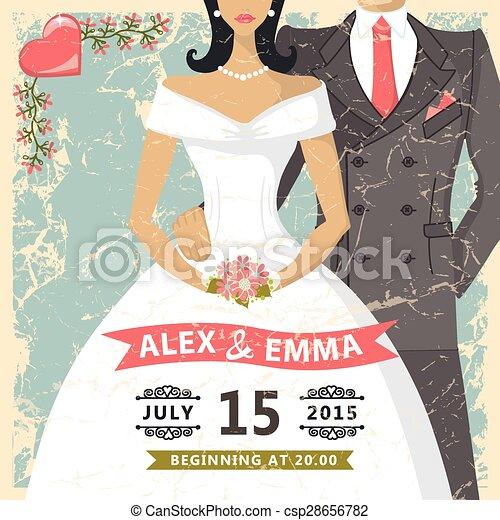 Retro wedding invitationbride groom decor elements vector