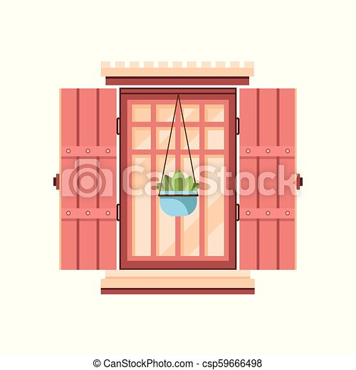 Retro window with wooden shutters, architectural design element vector Illustration on a white background - csp59666498