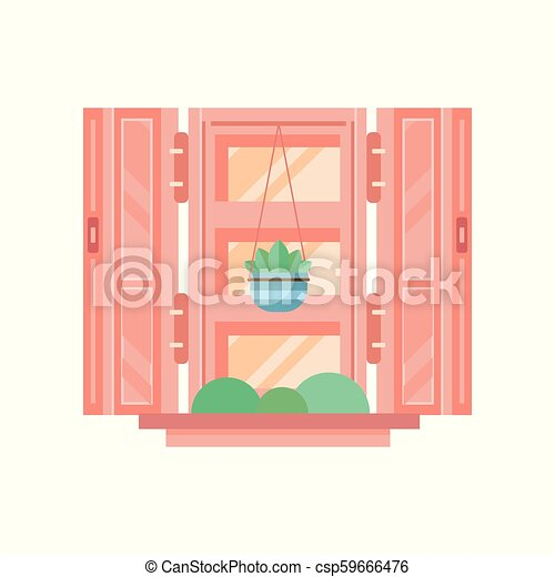 Retro window with wooden shutters, architectural design element vector Illustration on a white background - csp59666476