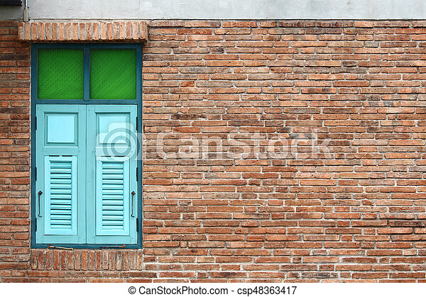Retro windows in brick wall - csp48363417
