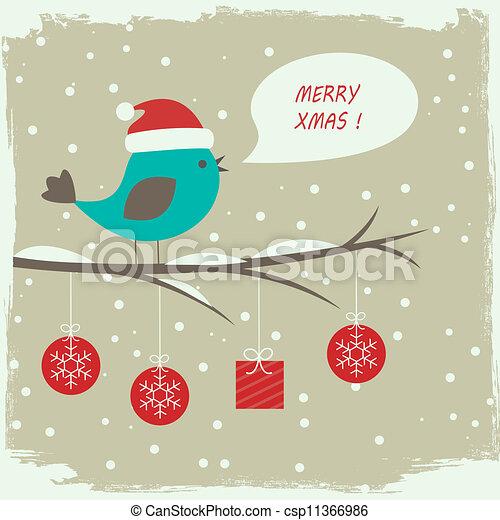Retro winter card with cute bird - csp11366986