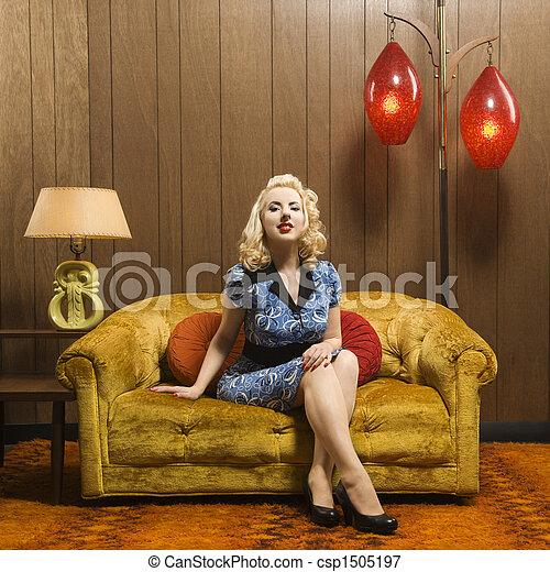 Retro woman portrait. - csp1505197