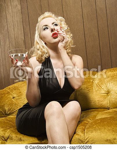 Retro woman portrait. - csp1505208