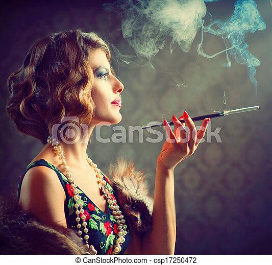 Retro Woman Portrait. Smoking Lady with Mouthpiece - csp17250472