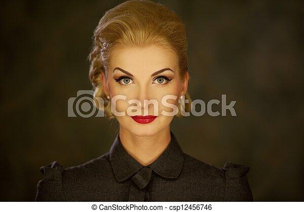 Retro woman portrait. - csp12456746