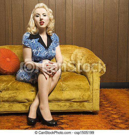 Retro woman portrait. - csp1505199