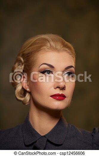 Retro woman portrait. - csp12456606