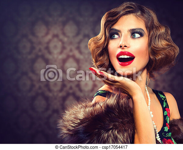Retro Woman Portrait. Surprised Lady. Vintage Styled Photo - csp17054417
