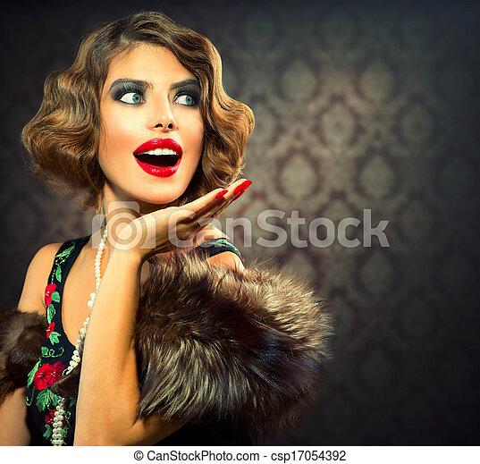 Retro Woman Portrait. Surprised Lady. Vintage Styled Photo - csp17054392