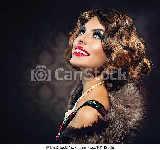 Retro Woman Portrait. Vintage Styled Photo - csp18149589