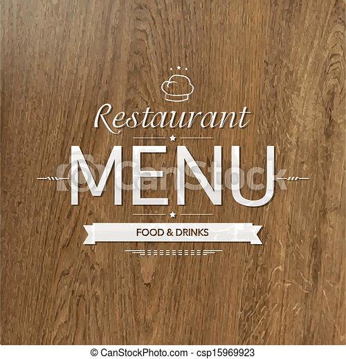 retro wood restaurant menu design vector illustration
