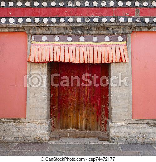 Retro wooden door and wall in Kumbum Monastery, Ta'er Temple a Tibetan Buddhism Monastery in Huangzhong County, Xining Qinghai China. - csp74472177