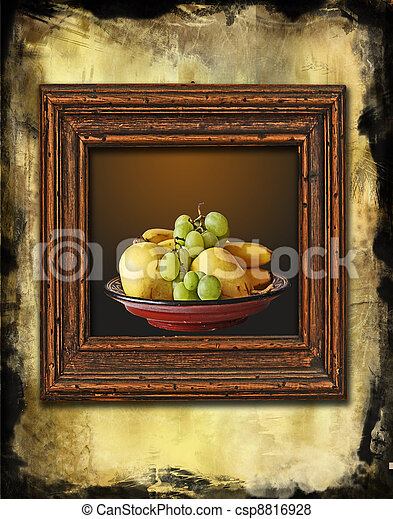 retro wooden frame with still life painting on grunge wall - csp8816928