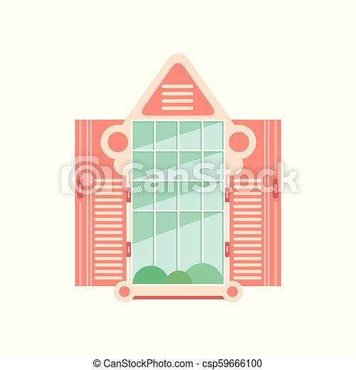 Retro wooden window frame with shutters, architectural design element vector Illustration on a white background - csp59666100