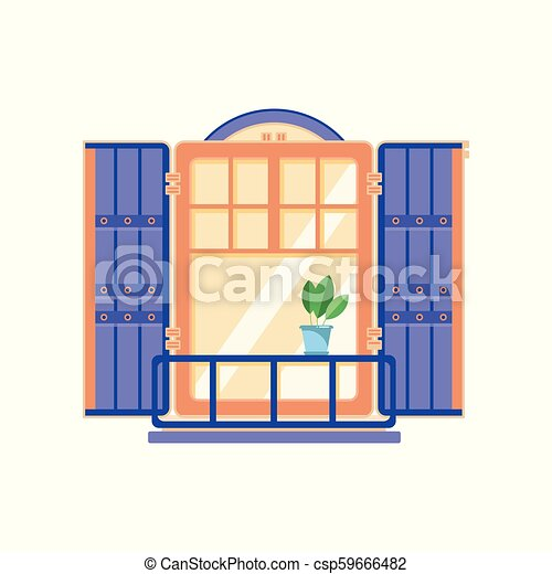 Retro wooden window with blue shutters, architectural design element vector Illustration on a white background - csp59666482