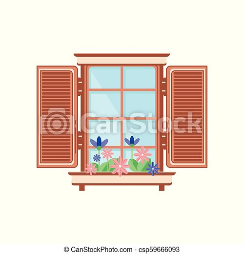 Retro wooden window with shutters and plants, architectural design element vector Illustration on a white background - csp59666093