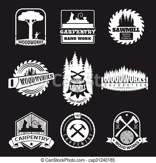 Retro woodwork and carpentry vector logo set in ...