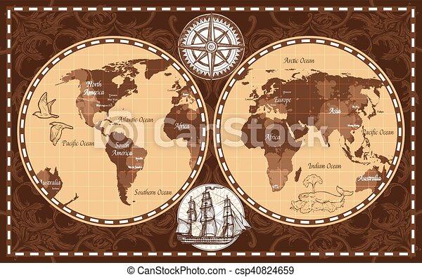 Retro world map brown color retro nautical world map with retro world map csp40824659 gumiabroncs Image collections