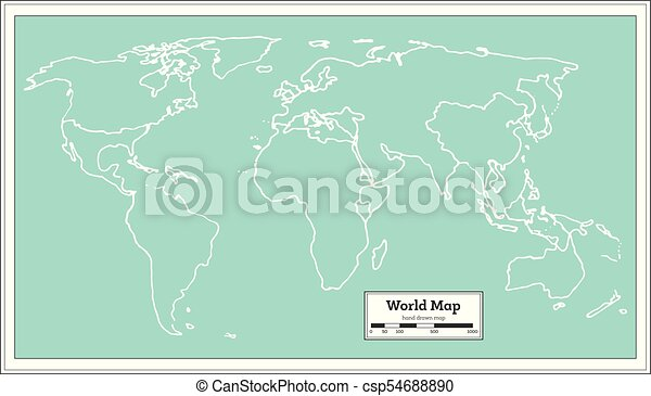 Retro World Map Vector Illustration
