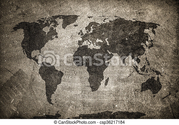 Retro world map on concrete plaster wall vintage grunge retro world map on concrete plaster wall vintage grunge background csp36217184 gumiabroncs Image collections