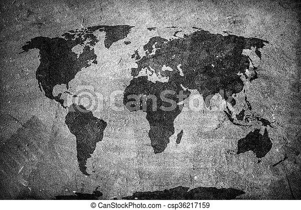 Retro World Map On Concrete Plaster Wall Vintage Grunge - Black and white vintage world map