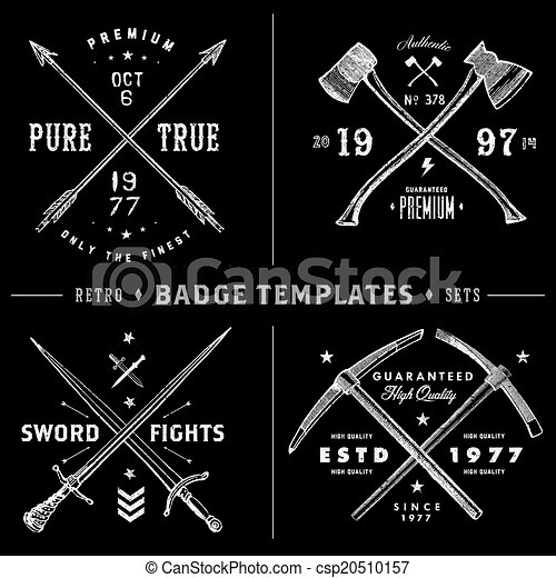 retro x badge and vintage logo template set easy to edit clipart