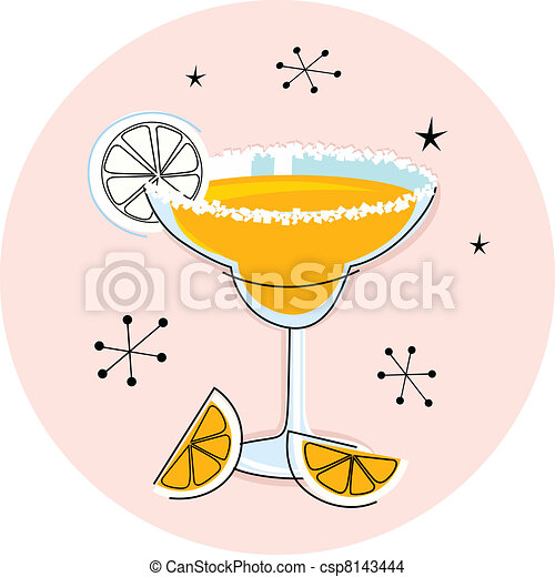 Retro yellow margarita isolated on white - csp8143444