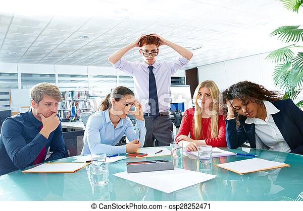 reunião negócio, negativo, expressão triste, gesto - csp28252471